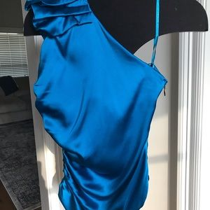 Cache Tops - Stunning royal blue one-shoulder top